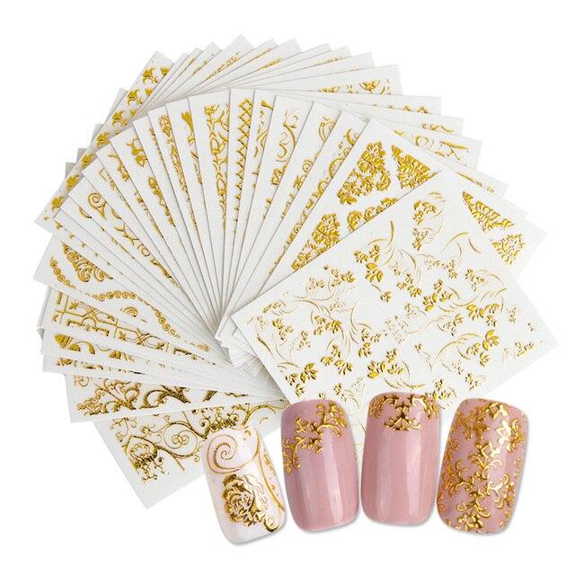 20แผ่นทอง3dสติกเกอร์เล็บสติ๊กเกอร์Decalsแบบผสมกาวดอกไม้ตกแต่งเล็บSalonอุปกรณ์เสริมLAAD301 326