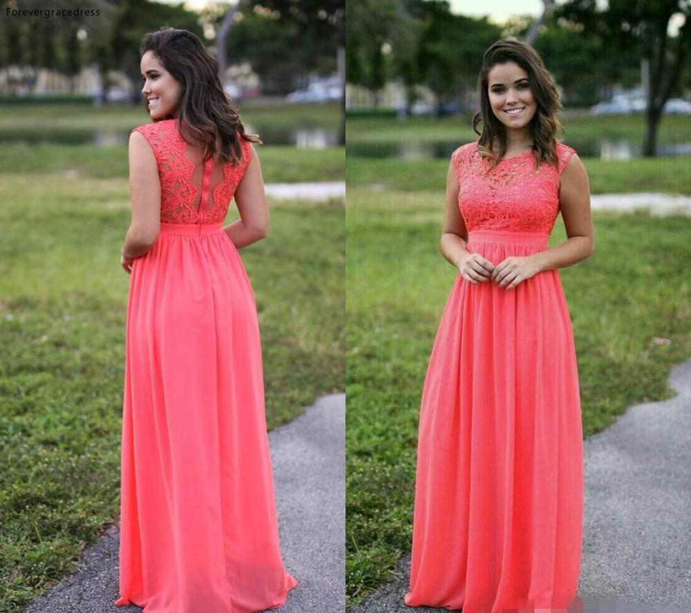 Cheap Chiffon Coral Bridesmaid Dress Illusion Long Gala Garden Formal Wedding Party Guest Maid Of Honor Gown Plus Size