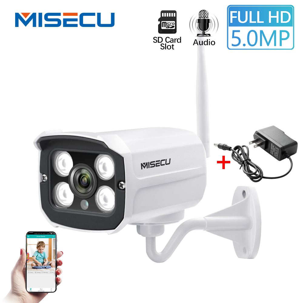 MISECU 5MP 1080P WiFi IP Camera Audio Wireless 2MP Metal Outdoor Waterproof P2P Night Vision SD Card Slot Security Onvif Camera