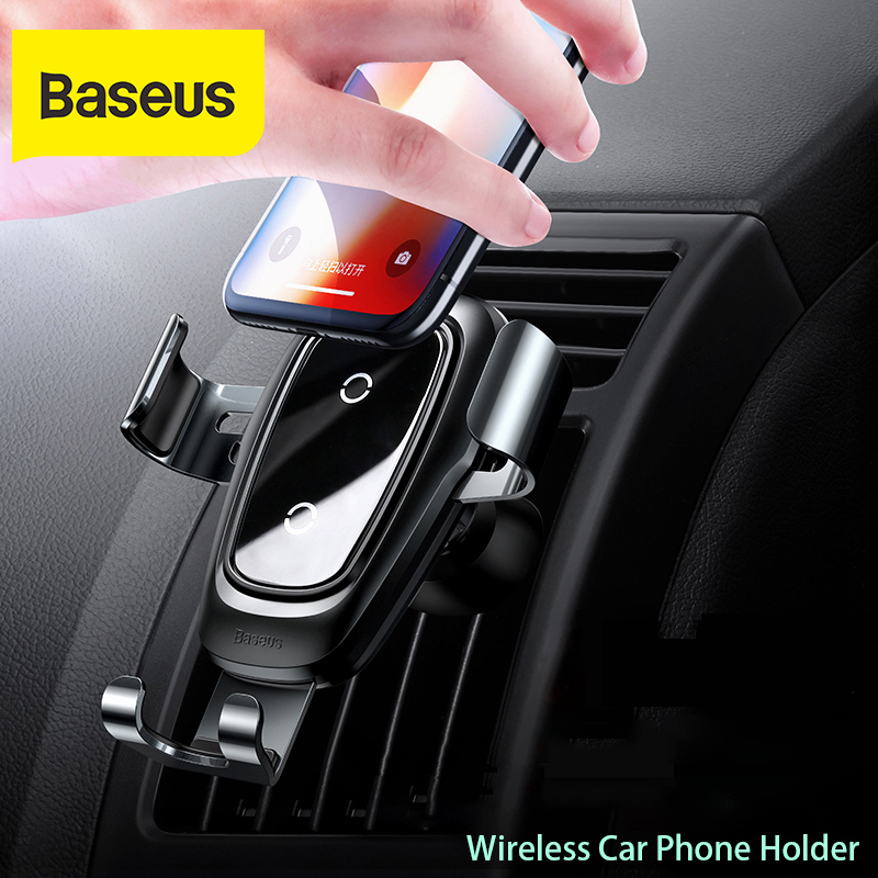 Baseus car phone holder 10w qi wireless charger for iPhone X Samsung S10 S9 S8 phone holder car phone power charger in air vent 1