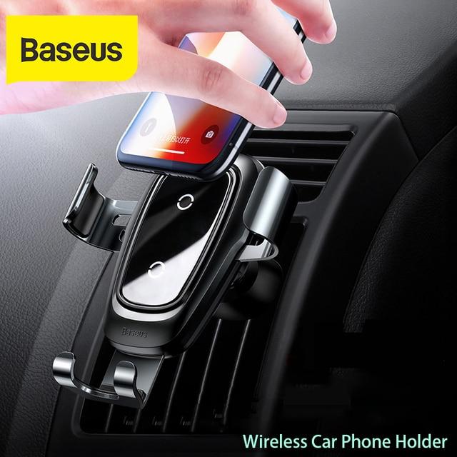Baseus Автомобильный держатель для телефона 10 Вт qi Беспроводное зарядное устройство для iPhone X Samsung S10 S9 S8 держатель для телефона автомобильное зарядное устройство для телефона в вентиляционное отверстие