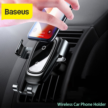 Baseus car phone holder 10w qi wireless charger for iPhone X Samsung S10 S9 S8 phone holder car phone power charger in air vent