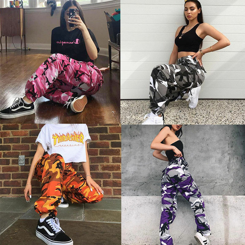New Women Camo Cargo High Waist Hip Hop Trousers Pants Military Army Combat Camouflage Long Pants Hot Capris Streetwear For Girl