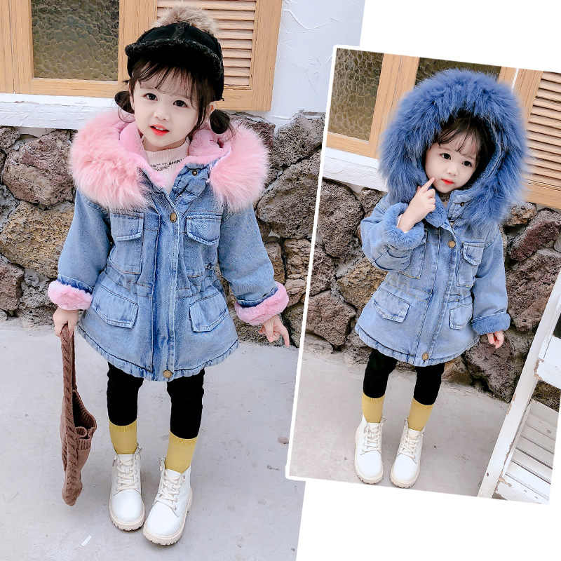 Winter Girls Denim Jacket Children Cotton Hooded Windbreaker Kids Plus Thick Velvet Warm Hooded Fur Collar Parkas Outwear