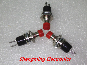 Image 1 - 100 יחידות PBS 110 AC 250 V 1A 2 פין SPST Off/(On) NO פתוח בדרך כלל מיני רגעי לדחוף כפתור החזרת אביב ראש אדום