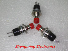 100 cái PBS AC 250 V 1A 2 Pin SPST Off/(On) NO Thường Mở Mini Momentary Xuân Return Đẩy Button Đầu Đỏ