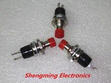100 sztuk PBS 110 AC 250 V 1A 2 Pin SPST Off/(On) NO normalnie otwarty Mini chwilowy sprężyna powrotna przycisk czerwony głowy