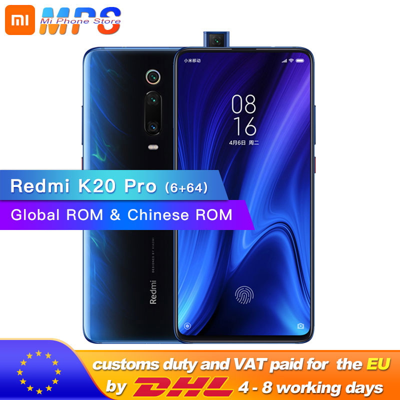 ROM globale Xiaomi Redmi K20 Pro 6GB 64GB Smartphone Snapdragon 855 Octa Core 4000mAh Pop-up avant 48MP caméra arrière AMOLED 6.39
