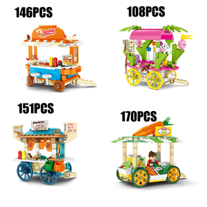 City mini street view Trolley block figures Mobile Hotdog Balloon Shooter Spicy Hot Pot vegetable stall shop toys