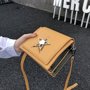 Image 3 - OLUOLIN Yellow five pointed star Lock Leather Shoulder Crossbody handbag Messenger Purse Flap PU Leather Travel Bags Shoulder