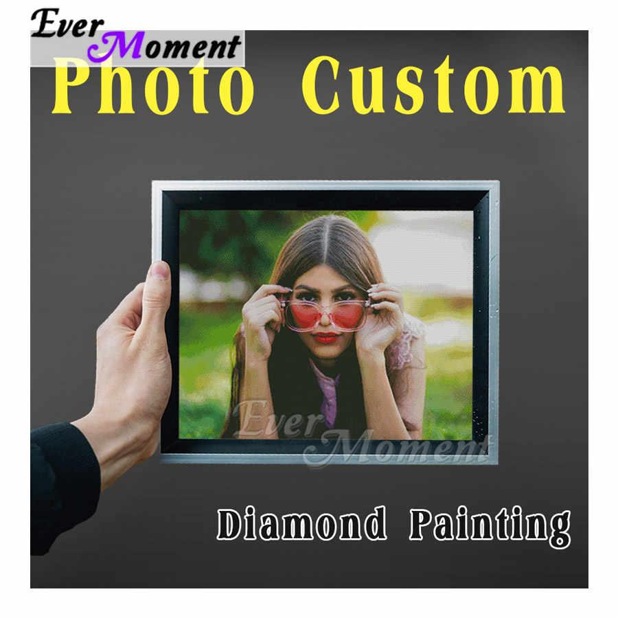 Imagen de diamante con personalización de foto de Ever Moment, arte de taladro completo cuadrado, bordado de diamantes personalizado hecho a mano 5D DIY ASF4000