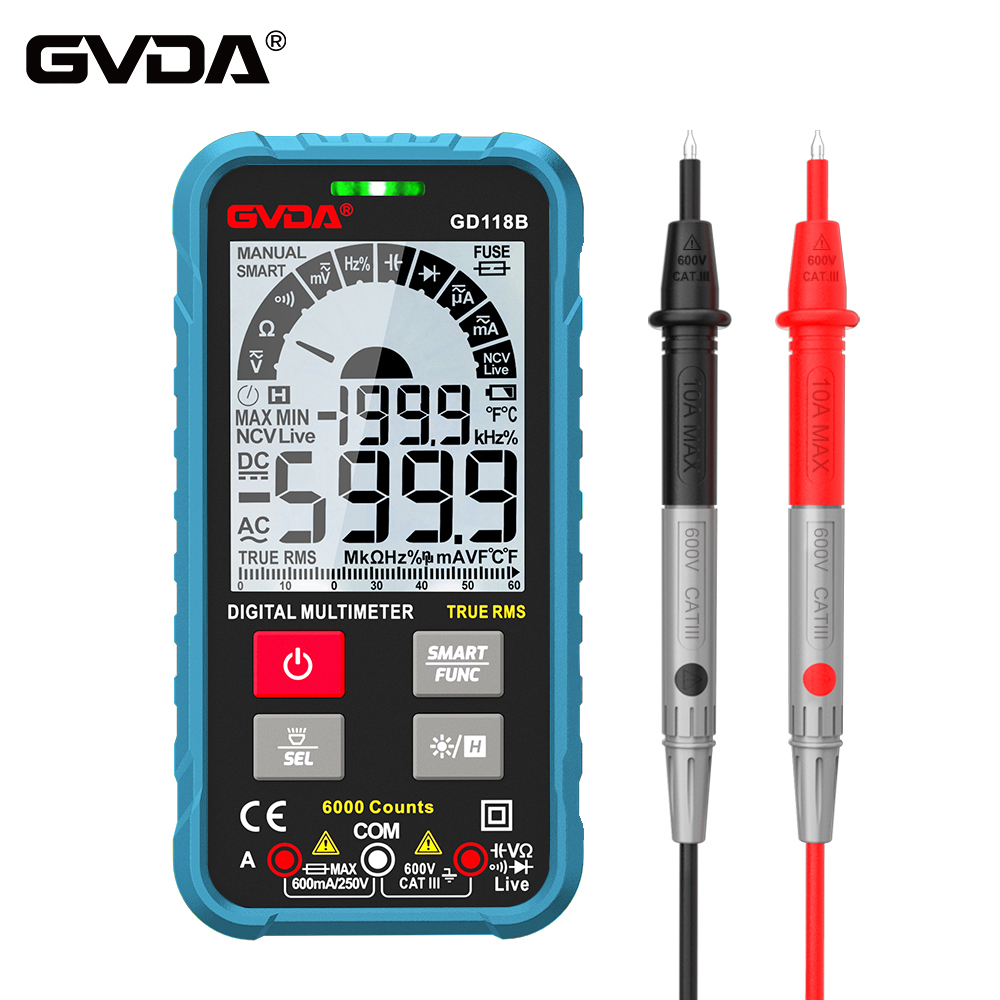 Цифровой мультиметр нового поколения GVDA 600 в Ture RMS AC DC NCV Smart Multimetro тестер Ом Емкость Гц измеритель напряжения