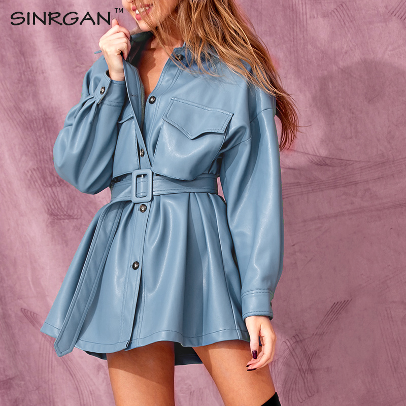 SINRGAN Blue PU Leather Short Dress With Belt Women Oversized Streetwear Jacket Clothing Single Buckle Autumn Winter Outfits(China)