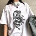 Женские рубашки в стиле Харадзюку, футболка с драконом, женская уличная одежда, футболка в стиле Y2kTops, винтажные женские футболки большого р...