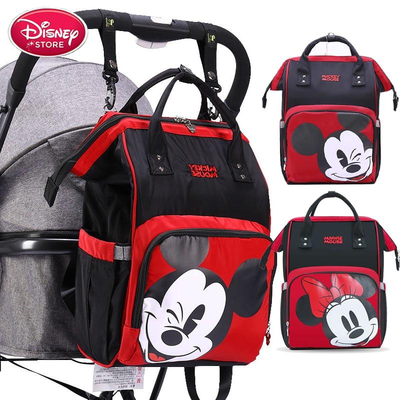 Sac à dos à couches avec chauffage USB | Disney, sacs pour maman, soins de bébé, sac humide de voyage, sac de rangement Mickey Minnie Mouse