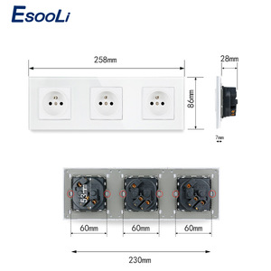 Image 5 - Esooli Crystal Glass Panel French Standard Wall Socket 258*86mm Power Socket Plug Grounded 16A Black Electrical Triple Outlet