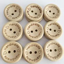 Boutons de boutons en bois pour décoration de vêtement, en lettres d'amour faites à la main, Scrapbooking, pour accessoires de couture, 100 pièces/lot