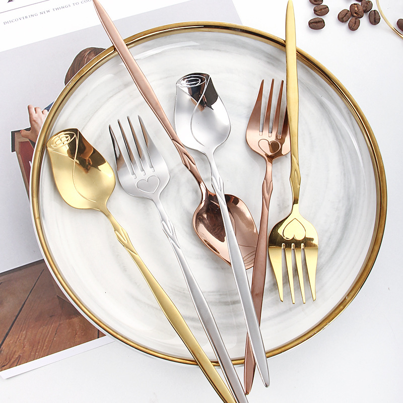 Набор столовой посуды из нержавеющей стали с зеркальной поверхностью, глянцевая Серебристая розовая текстура, мягкая усовершенствованная ложка, вилка, столовая посуда из нержавеющей стали