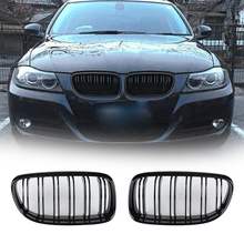 2pcs Car Front Grille For BMW E90 318 320i 325i 330i 2008-2011 Bright Black ABS Car Front Bumper Kidney Grille Car Accessories