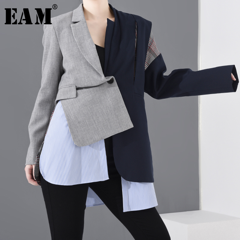 [EAM]  Women Blue Plaid Asymmetrical Big Size Blazer New Lapel Long Sleeve Loose Fit  Jacket Fashion Spring Autumn 2020 1N90102