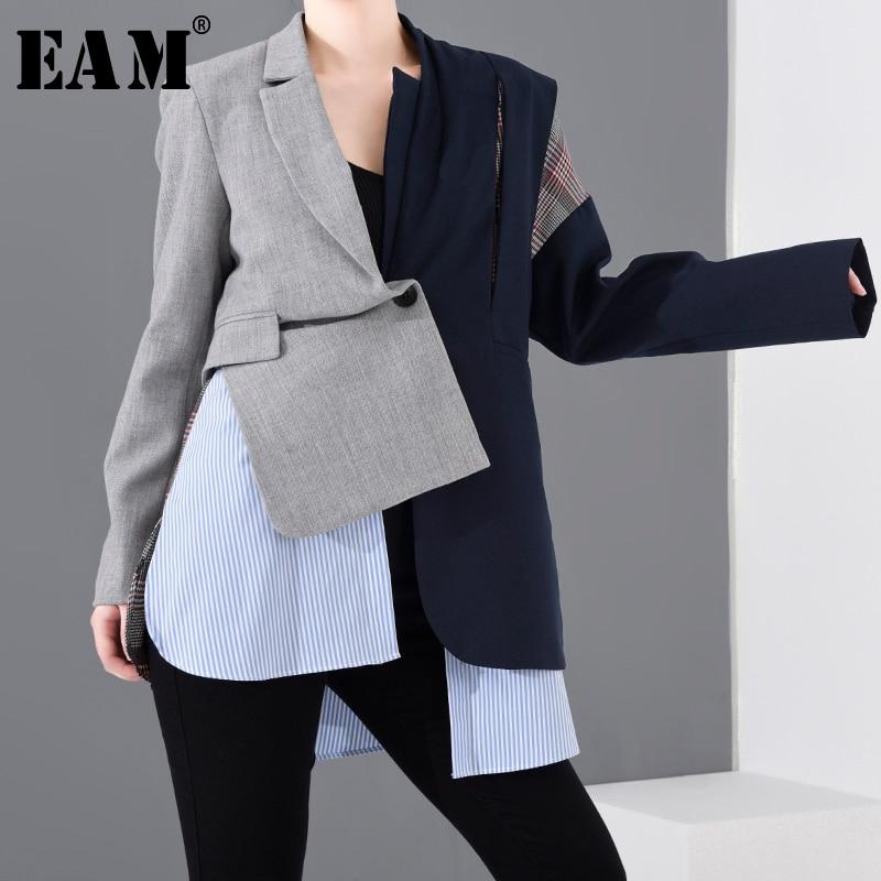 [EAM]  Women Blue Plaid Asymmetrical Big Size Blazer New Lapel Long Sleeve Loose Fit  Jacket Fashion Spring Autumn 2020 1N90102