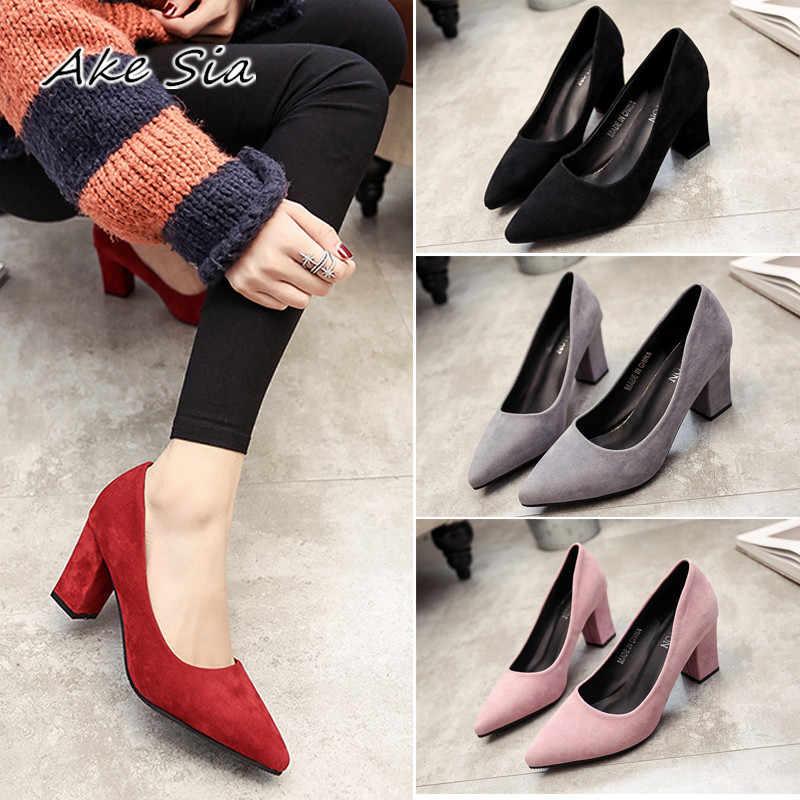 2020 sonbahar kadın sandalet sivri bayan seksi yüksek topuklu siyah kalın vahşi tek kadın ayakkabı Sandalias femeninas s070-1