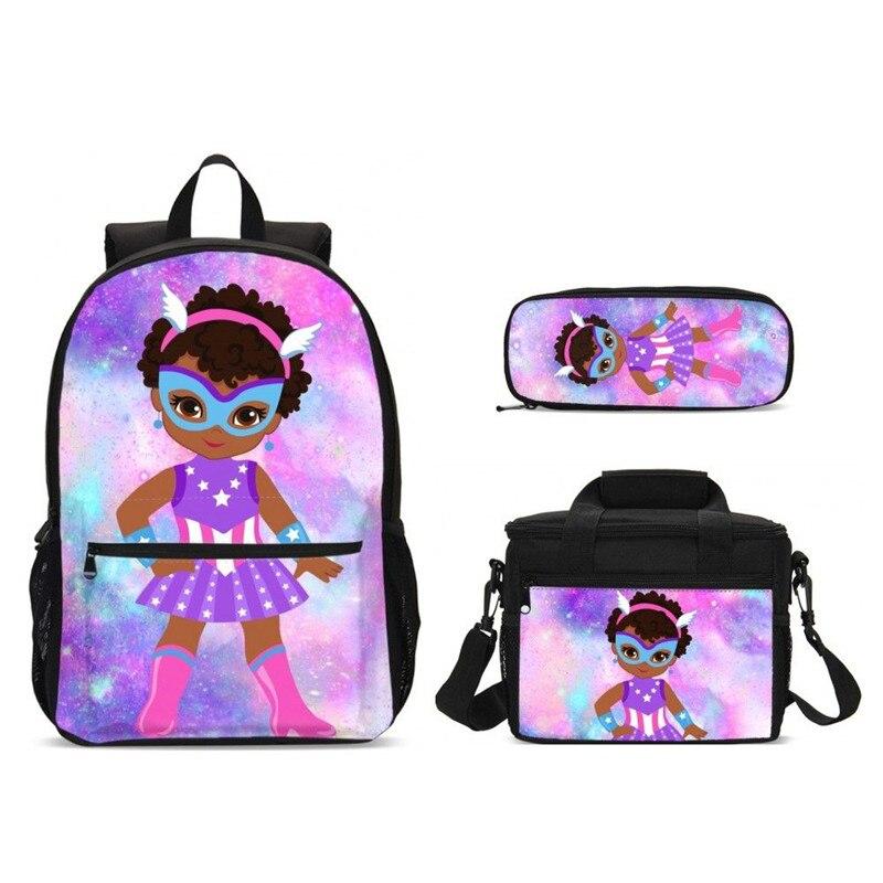 3cs/set sacs d'école avec des sacs de nourriture pour enfants Super héros filles impression sac à dos scolaire enfants livre sacs adolescent étudiant cartable