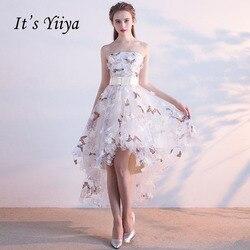 Платье без бретелек It's YiiYa, винтажное платье на шнурках с высокой и низкой асимметрией, Элегантные цветы, тафта, платье для выпускного бала, п...