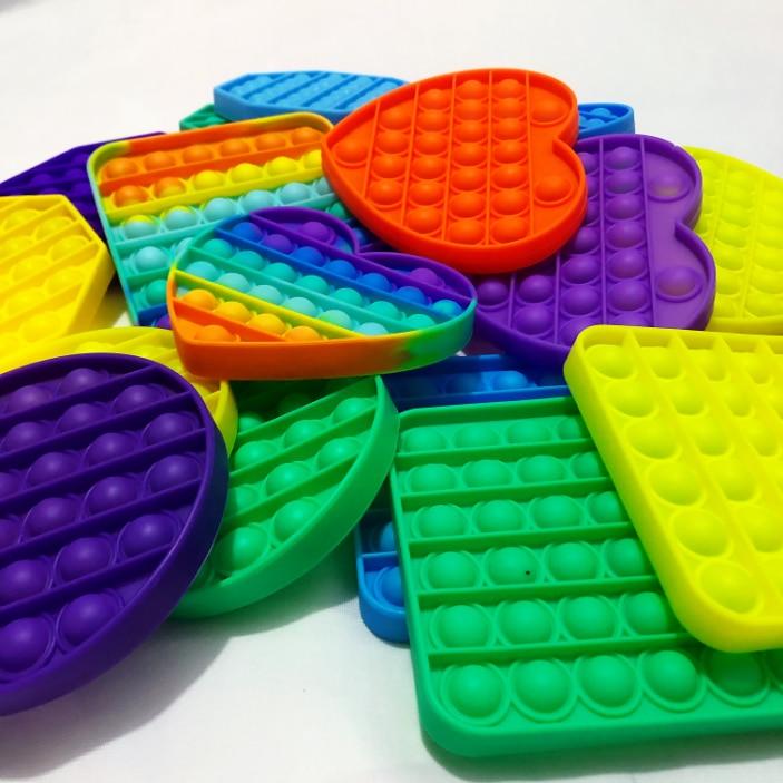 Push Bubble Sensory Toy Reliver Stress Rainbow Dinosaur Unicorn shape Bubble Antistress Adult Children Sensory Relieve Autism