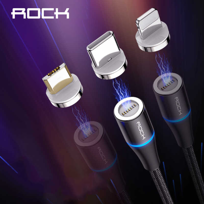 ROCK 3 in 1 Set Magnetic LED USB Cable For iPhone X Xr Xs Max Xiaomi 9 8 Micro USB Type C Cable Charging Wire Magnet Charger