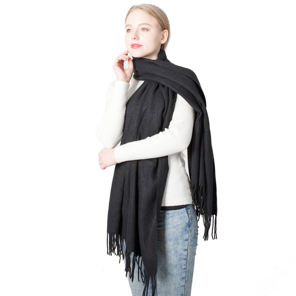 Fashion Luxury Pure Color Grey Pink Red Blue Scarf Winter Cashmere Warm Black Scarves Women