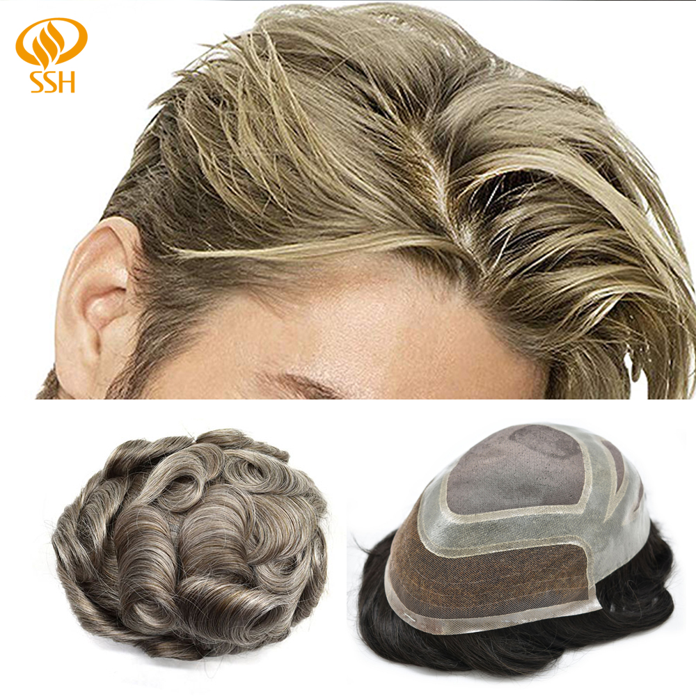 SSH Remy Hair French Lace Front Fine Mono Mens Toupee PU Skin 100% Human Hair System