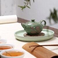 Celadon Teapot Handmade Teapot Ceramics Xi Shi Pot Three legged Teapot Ge Kiln Ice Cracker Pot Kung Fu Black Tea Teaware
