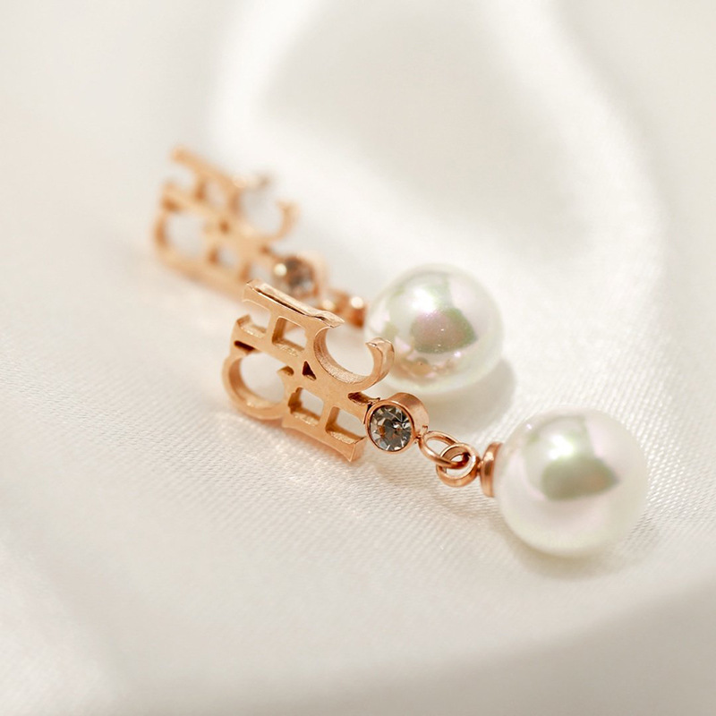 Image 4 - fashion rose gold letter chhc pearl drop earring for womenDrop Earrings   -