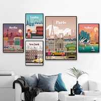 Берлинский Лондон Париж Сидни Нью-Йорк пейзаж Путешествия Искусство Холст плакат домашний Настенный декор (без рамки)