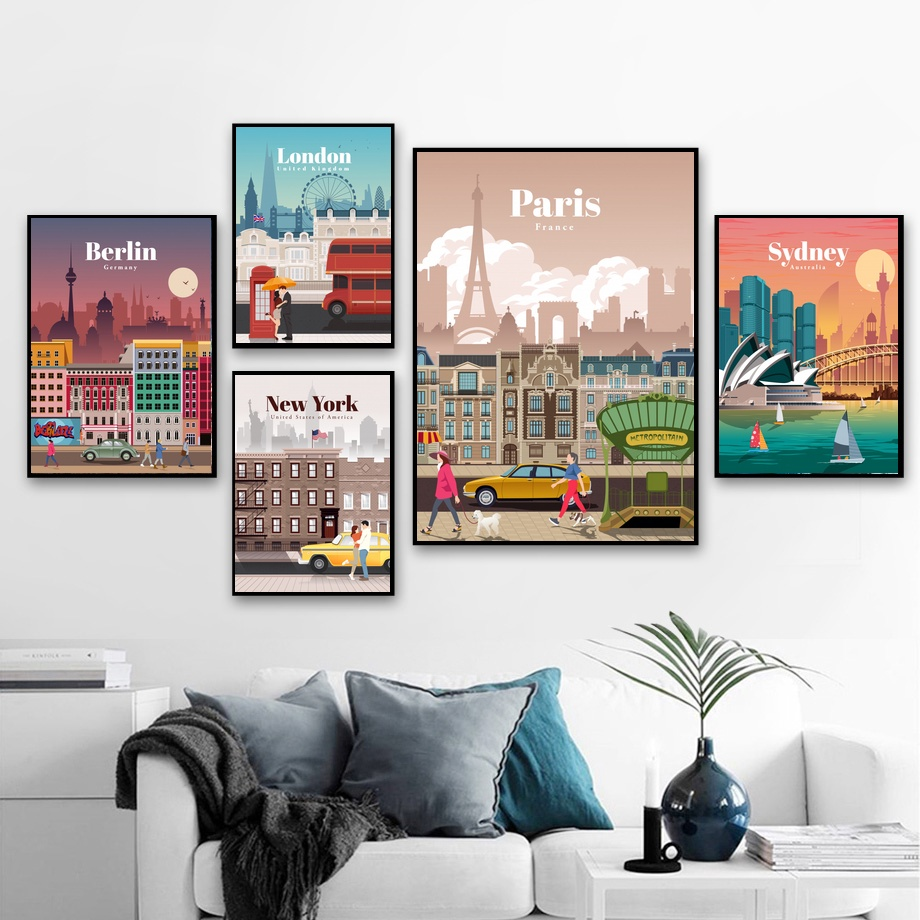 Berlin London <font><b>Paris</b></font> Sydney New York City Landscape Travel Art Canvas Poster Home Wall Decor (No Frame) image