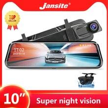 """Jansite 10 """"tela de toque do carro dvr transmissão mídia 1080p frente/câmera traseira gravador de vídeo da câmera automática espelho retrovisor câmeras de backup"""