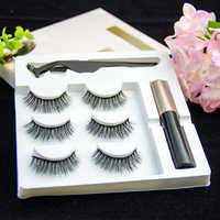 professional 3 Pairs False Eyelashes Set With Tweezer Makeup Kits Magnetic Eyeliner Liquid Thick And Curled Eyeashes