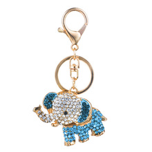 Cute 3D Blue Elephant Lovely New Crystal Car Key Chain Women Charms Purse Bag Ring Elephants Trinket Rings Gift
