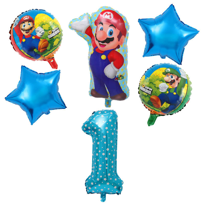 18inch Round Mario Balloon <font><b>30</b></font> inch Pink Number Balloon <font><b>Birthday</b></font> Party <font><b>Decoration</b></font> Kids Classic Blue Red Mario Mylar Supplies image