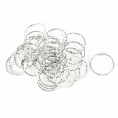 Metal Openable Loose Leaf Ring Keychains Silver Tone 38mm Diameter 30 Pcs