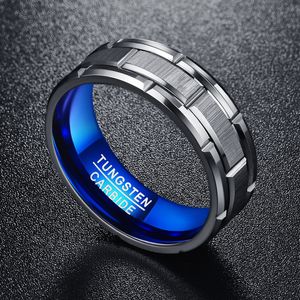 Image 5 - Nuncad T062R unique Engagement ring combination ring hole blue 8MM wide tungsten steel ring size 7 12