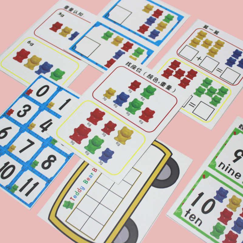 6 セットカウントクマステッカー積層したカップ Montessorily 虹マッチングゲーム教育色ソートのおもちゃ幼児