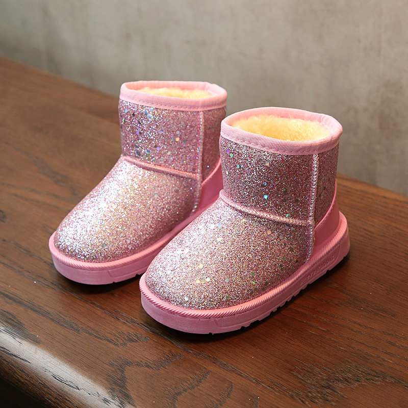 New Arrival 2019 Bling Winter Shoes For Girls Plush Toddler Boy Boots Kids Keeping Warm Baby Snow Boots Children Shoes