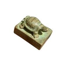 Резьба по дереву богатая долго живущая печатка скульптура квадратный старинный орнамент Коллекционная черепаха печать маленькая статуя китайская Бронза Lucky