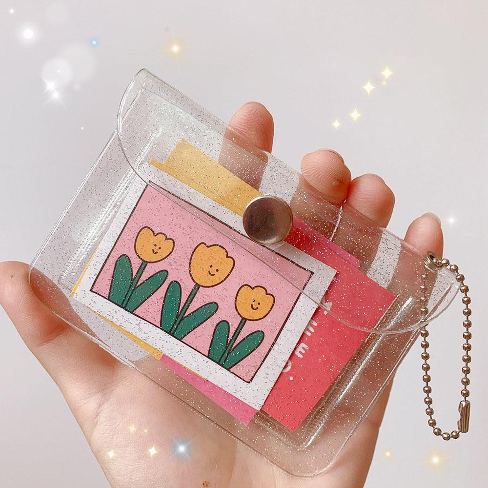 Fashion Transparent Waterproof Pvc Women Card Case Business Card Holder Men Credit Card Bag Id Card Mini Wallet Girls Coin Purse