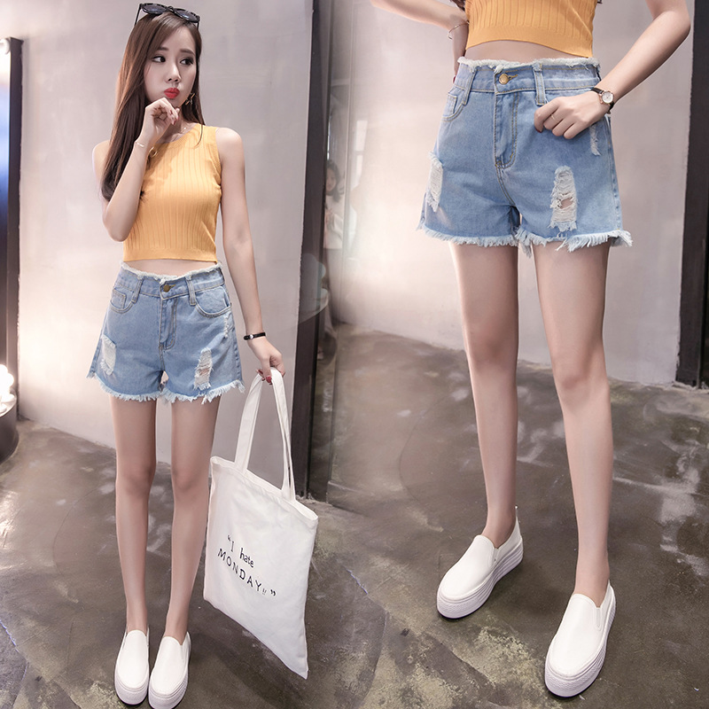 Jeans Women's 2019 Summer Large Size Dress Fat Mm 200 Burrs With Holes Shorts Hot Pants