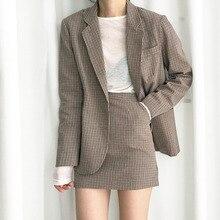 Высокое качество, Женский Осенний Блейзер, комплект с юбкой, длинный рукав, клетчатый Блейзер, пальто+ мини-юбка трапециевидной формы, женский весенний комплект из двух предметов