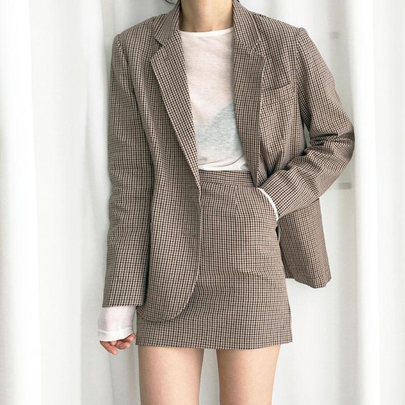 Streetwear Women Autumn Blazer Skirt Sets Long Sleeve Plaid Blazer Coats Female+A Line Mini Skirt Ladies Two Piece Set 2019