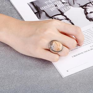 Image 5 - KALEN Oval Colourful Big Marble Stone Wedding Bands Rings For Women Gold Color Stainless Steel Mujer Anillos Party Jewelry